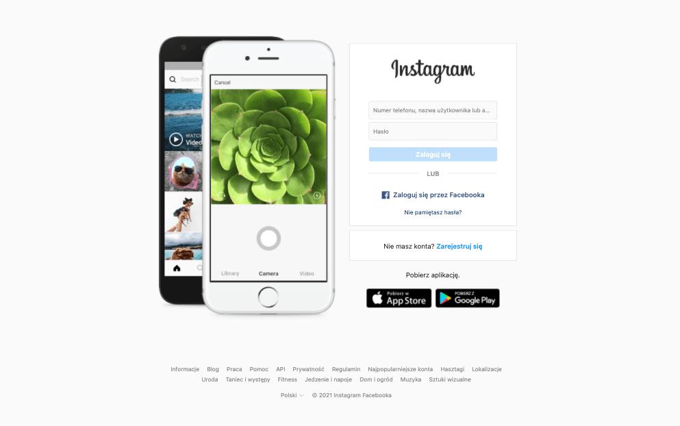 Logowanie na Instagramie