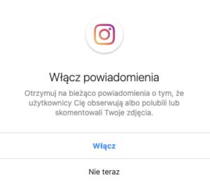 powiadomienia na Instagramie